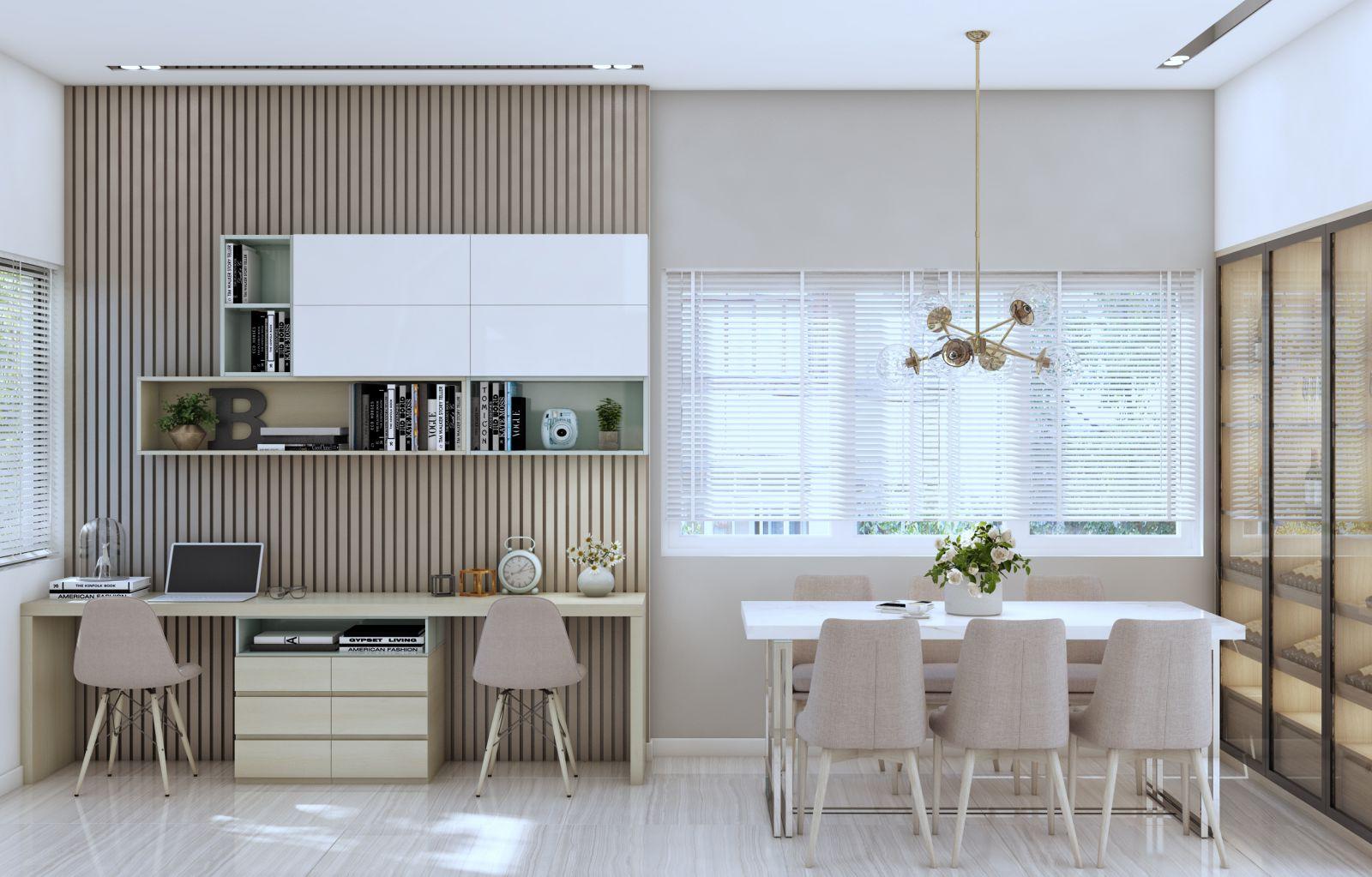 Thiết kế nội thất phòng làm việc của căn biệt thự kiểu mới