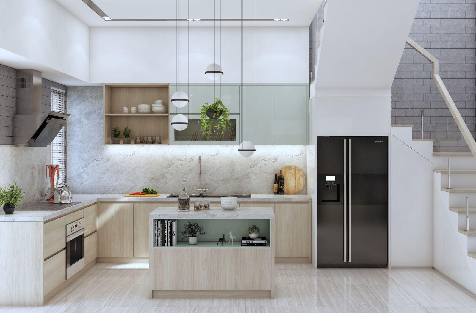 Nội thất phòng bếp trong căn biệt thự