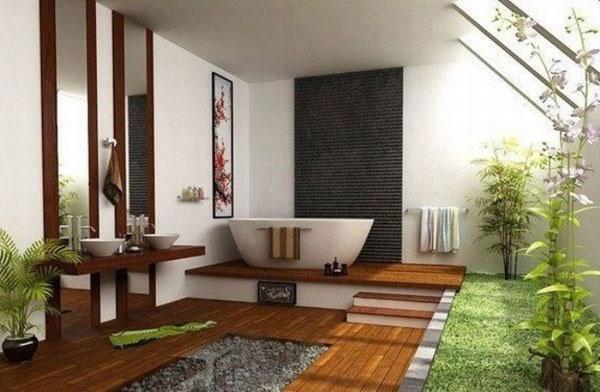 Kết hợp thiên nhiên trong không gian phòng tắm tạo nên dấu ấn thẩm mỹ rõ nét