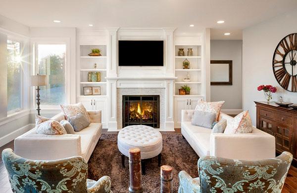 Lò sưởi là vật dụng dễ dàng nhận diện căn phòng theo phong cách nội thất đồng quê Anh