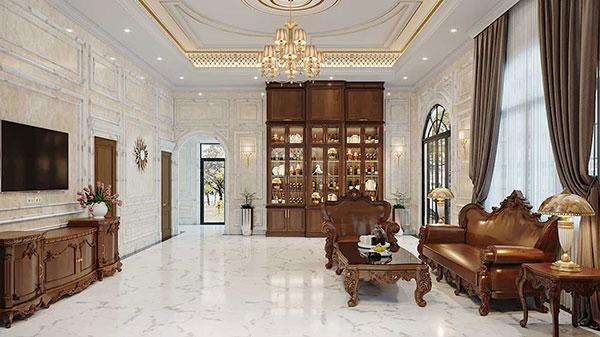 Nội thất phòng khách tân cổ điển với những đường phào chỉ được thiết kế tỉ mỉ
