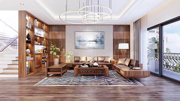 Mẫu nội thất phòng khách biệt thự với dấu ấn là màu xanh tự nhiên