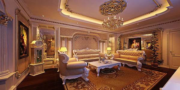 Gam màu vàng kết hợp với chất liệu đá hóa cương tạo nên không gian sang trọng, quý tộc