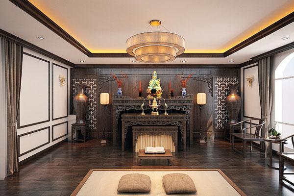 Thiết kế nội thất biệt thự liền kề với gian thờ trang trọng
