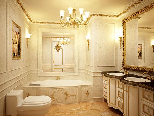 Thiết kế nội thất phòng tắm biệt thự cao cấp, sang trọng