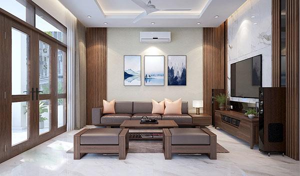 Vật liệu cao cấp giúp nội thất phòng khách biệt thự đẹp, sang trọng