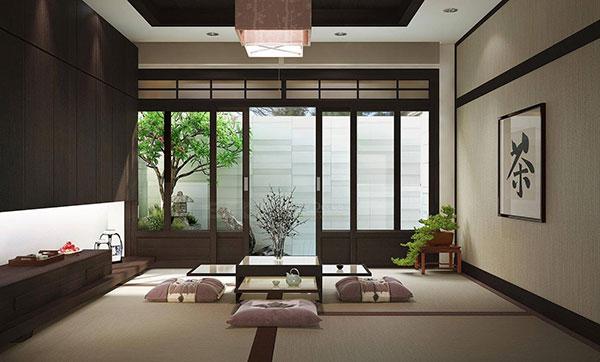 Không gian thông thoáng với sự kết hợp nội thất đơn giản và màu xanh tự nhiên