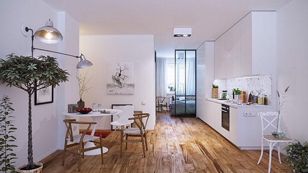 Tường trắng luôn đi kèm với sàn gỗ được đánh bóng