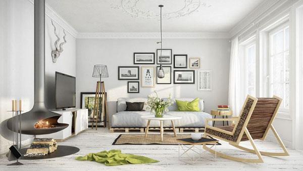 Chiếc lò sưởi mang đậm hơi hướng phong cách thiết kế nội thất Scandinavian