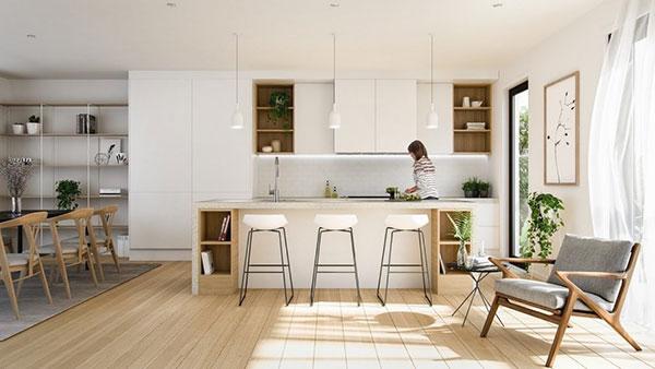 Nội thất phòng bếp có sự kết hợp giữa màu xanh tự nhiên và ánh sáng ấn tượng