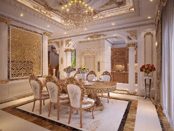 Bàn ăn mang đậm phong cách nội thất Baroque với màu sắc ấn tượng đi kèm họa tiết độc đáo