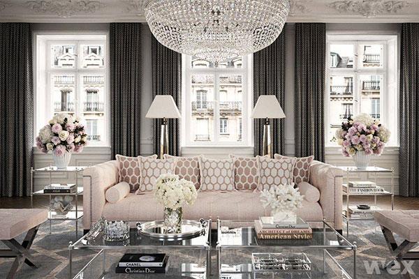 Phòng khách phong cách Baroque ghi điểm với các chi tiết đạt mức tinh tế