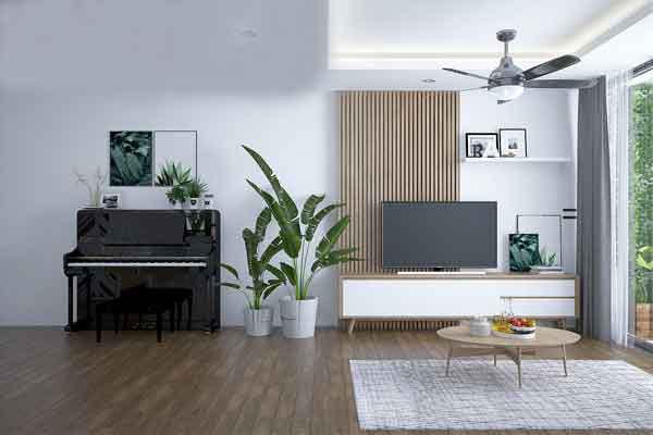 Cây xanh được trồng trong nhà đi liền với các vật dụng hiện đại tạo nên không gian mang phong cách nhiệt đới