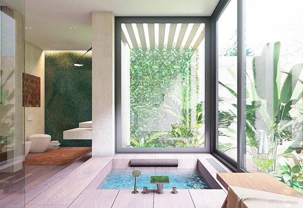 Hồ bơi được tô điểm bằng cảnh vật mang phong cách nội thất nhiệt đới