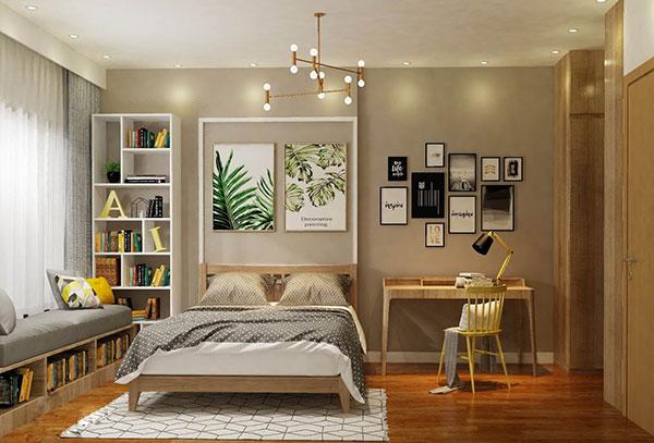 Màu vàng nổi bật giúp phòng ngủ ấm áp, âm cúng