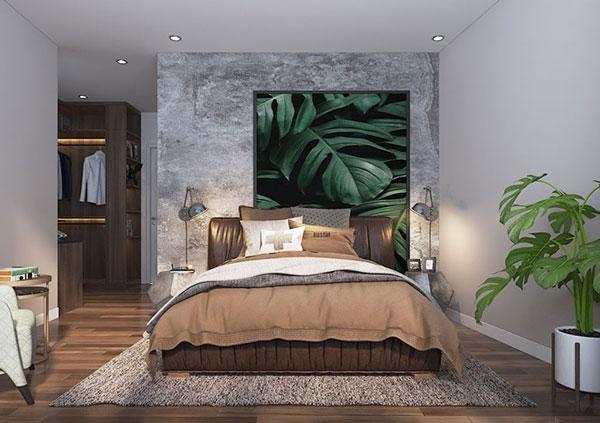 Phòng ngủ phong cách nội thất Tropical với họa tiết hoa văn ấn tượng