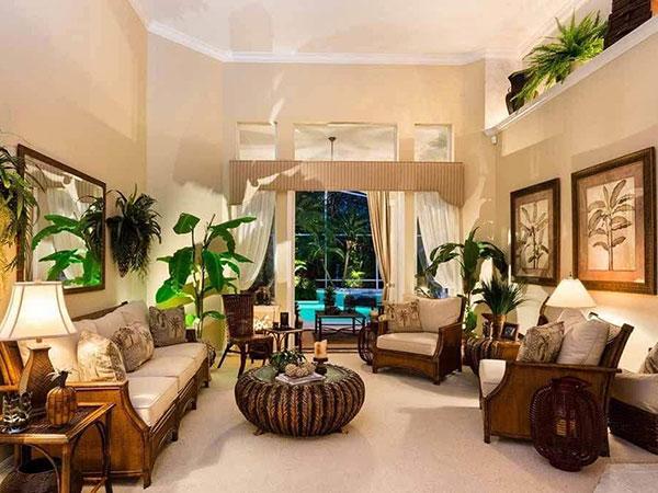 Sắc vàng được kết hợp màu xanh mang đến vẻ đẹp ấn tượng cho nội thất Tropical