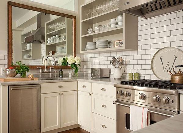 Nội thất Vintage phòng bếp gọn gàng, ngăn nắp