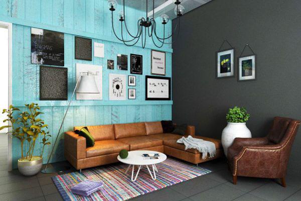 Bộ sofa màu trầm được tân dụng hài hòa giúp không gian mang đậm phong cách nội thất Vintage
