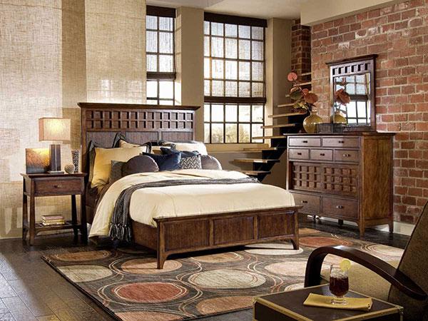 Phòng ngủ phong cách Vintage với chất liệu gỗ màu trung tính