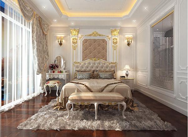 Nội thất phòng ngủ master tân cổ điển với cách phố hợp màu sắc mới lạ, cuốn hút