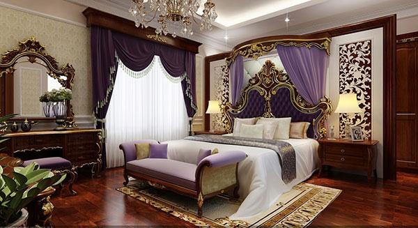 Màu sắc giường ngủ tân cổ điển có độ tương phản kết hợp với đường cong mềm mại