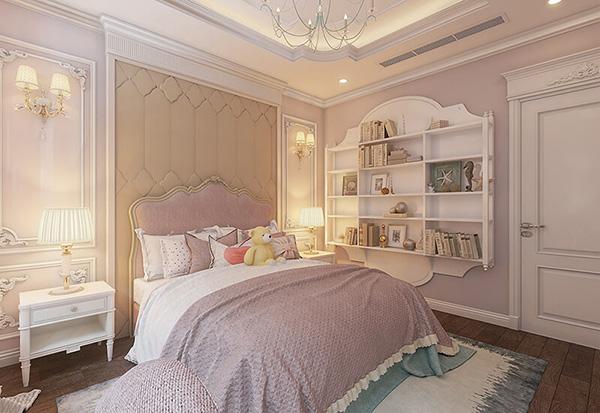 Nội thất phòng ngủ tân cổ điển cho bé gái với gam màu hồng làm chủ đạo