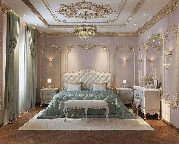 Sử dụng màu xanh và bọc da cho mẫu giường ngủ tân cổ điển cao cấp
