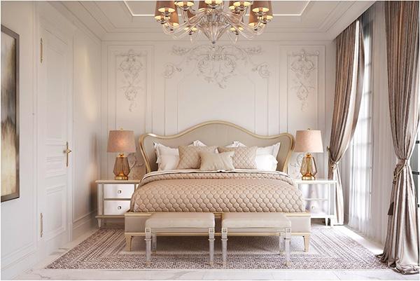 Giường ngủ tân cổ điển bọc da kết hợp hài hà với rèm che và thảm trải sàn
