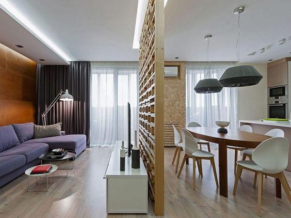 Phòng khách và bếp được phân tách với nhau tạo không gian riêng tư