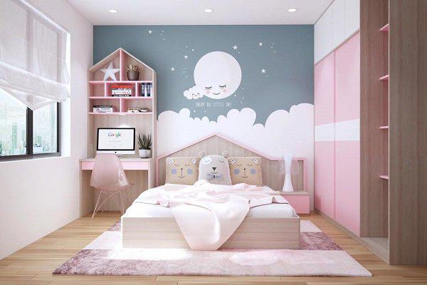 Trang trí phòng ngủ nhỏ đẹp với giấy dán tường