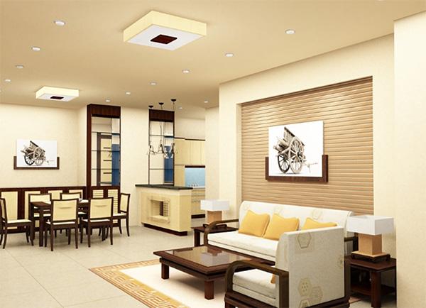Màu sắc đơn giản giúp phòng khách hiện đại, ấn tượng