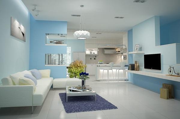 Xanh ngọc và xanh biển gắn kết tạo nên cách phối màu sơn phòng khách hiện đại, tinh tế