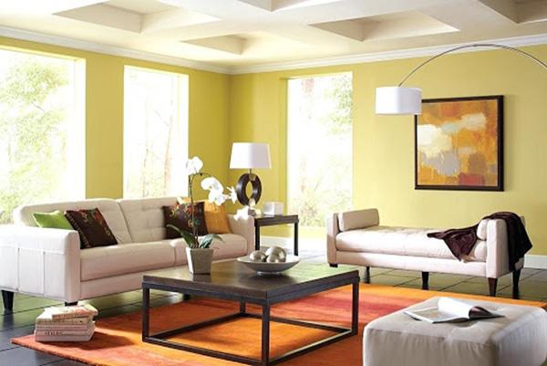 Màu vàng chanh ấn tượng khiến căn phòng trở nên sinh động, cuốn hút