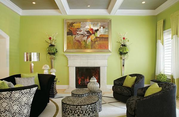 Nội thất phòng khách trở nên sinh động, cuốn hút nhờ sơn tường