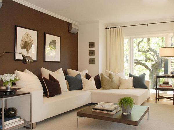 Sơn một mặt tường màu nâu kết hợp sắc trắng trang nhã