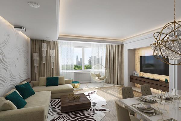 Ánh sáng kết hợp hài hòa với nội thất đơn giản, hiện đại
