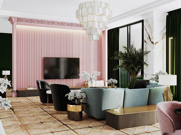Họa tiết hình học đặc thù được tái hiện trong không gian phòng khách