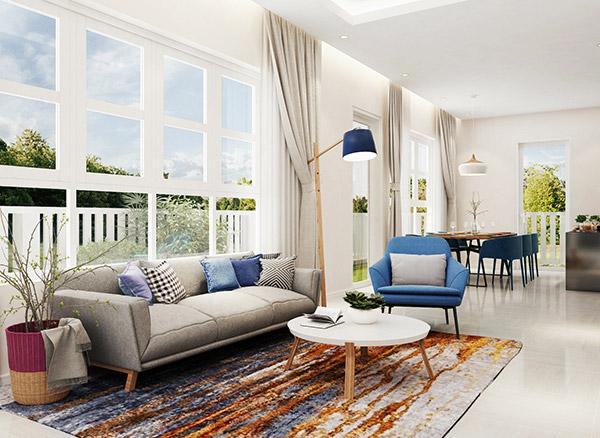 Nội thất phòng khách Địa Trung Hải thể hiện ở vẻ đẹp thiên nhiên