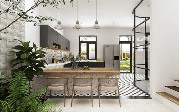 Nội thất Địa Trung Hải được sử dụng trong không gian bếp hài hòa