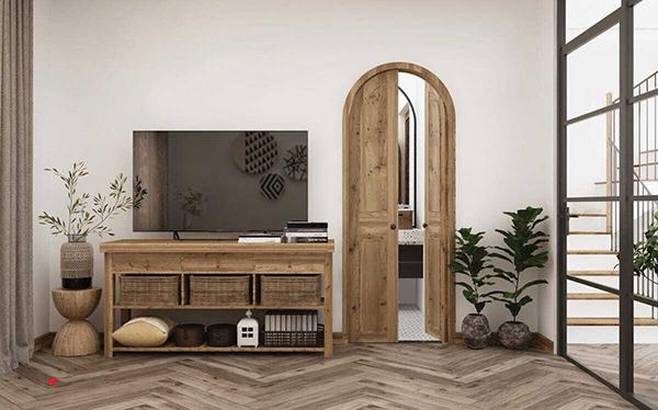 Chất liệu gỗ tự nhiên được sử dụng trong nội thất phòng khách