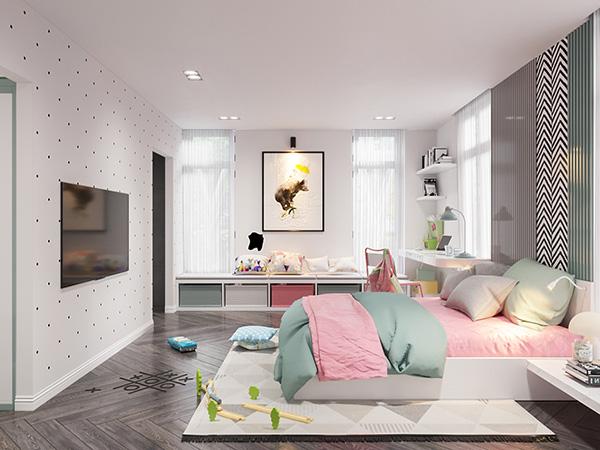 Phối hợp bảng màu hài hòa cho phòng ngủ bé gái phong cách Hàn Quốc