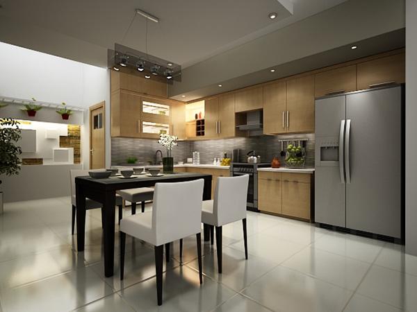 Phòng bếp bao gồm: bàn ăn, khu vực nấu nướng tiện nghi