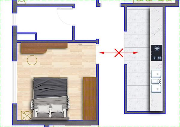 Phòng bếp nên tránh trực tiệp đối diện cửa phòng ngủ