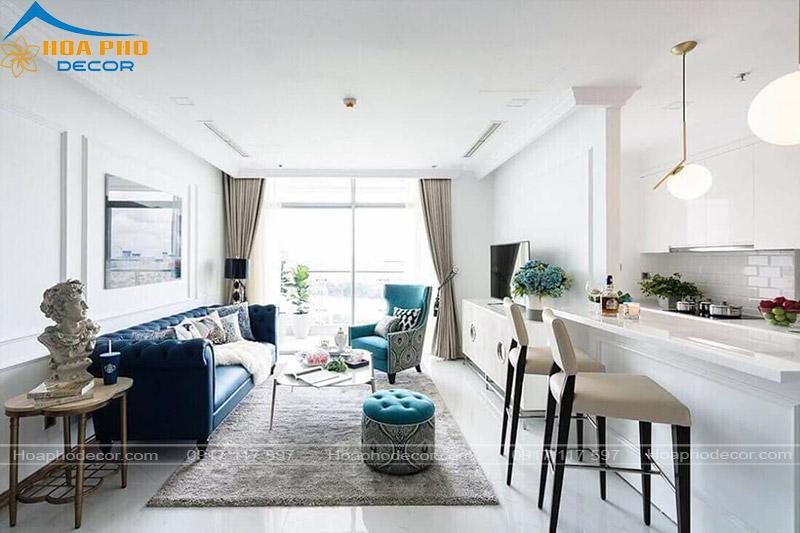 Bộ sofa sử dụng màu sắn ấn tượng mang đến hiệu quả về không gian