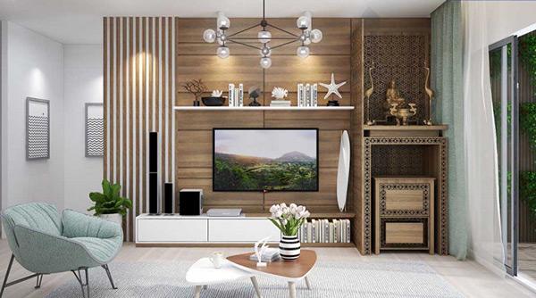 Nội thất phòng khách được thiết kế riêng theo phong cách của gia chủ