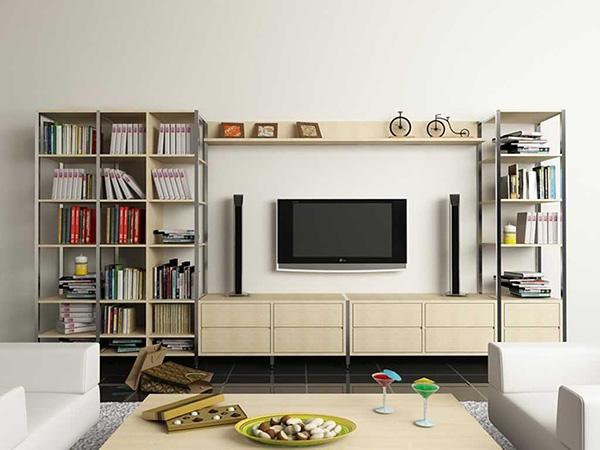 Trang trí phòng khách bằng gỗ với mẫu kệ sách