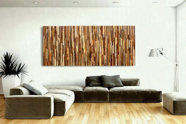 Tranh treo tường có đường vân gỗ nghệ thuật