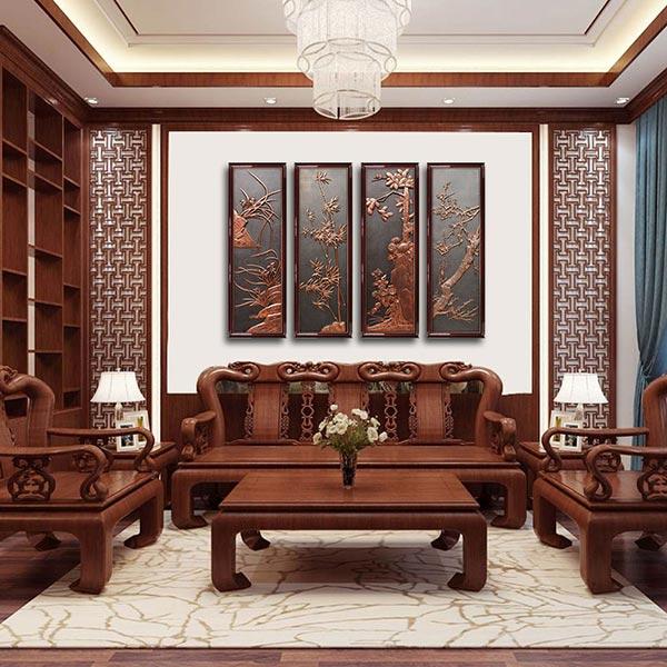 Tranh treo tường phòng khách bằng gỗ