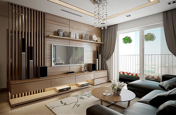 Phòng khách được trang trí bằng đồ gỗ